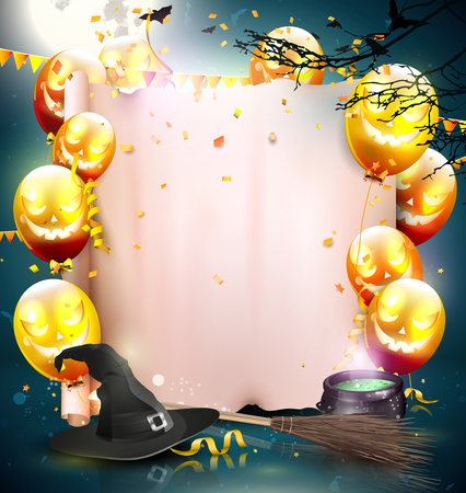 halloween background: Halloween background with balloons and empty paper.
