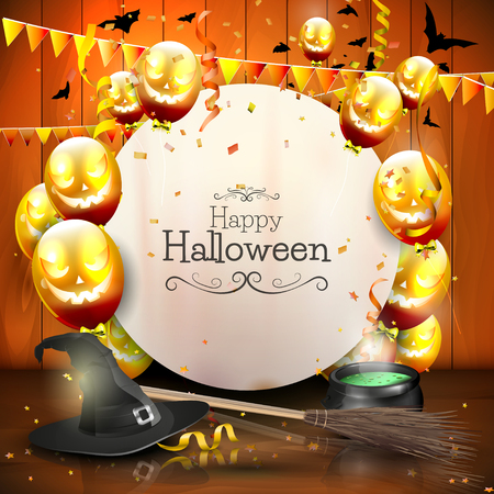 haunted: Halloween background with balloons and empty paper.
