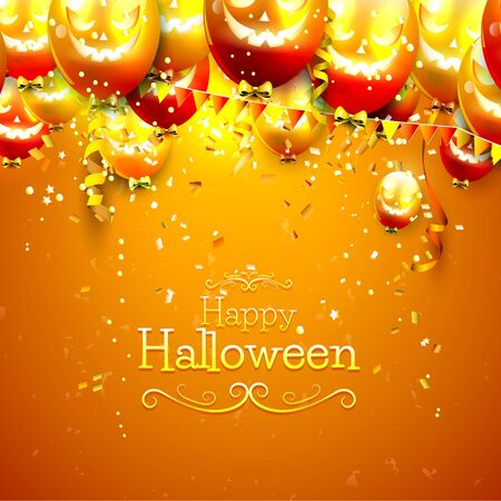 haunted: Halloween background with balloons