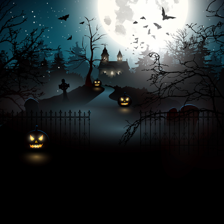 halloween background: Scary old graveyard and church in the woods Illustration