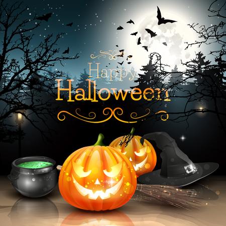calabazas de halloween: Decoraciones de Halloween en el bosque tenebroso