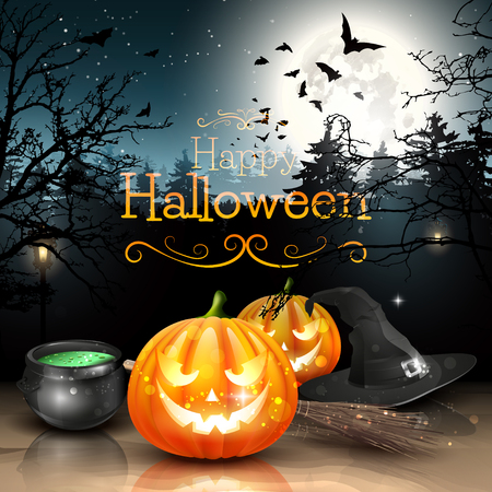 halloween poster: Decorazioni di Halloween in foresta spettrale
