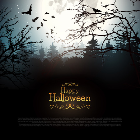 Halloween creepy forest with bats and full Moon