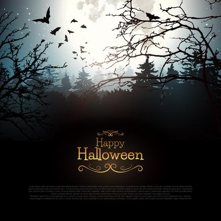 fondo: Bosque espeluznante de Halloween con murciélagos y Luna llena