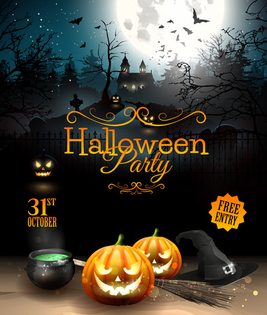 Halloween party flyer with pumpkins, hat, pot and old broom in front of scary castle