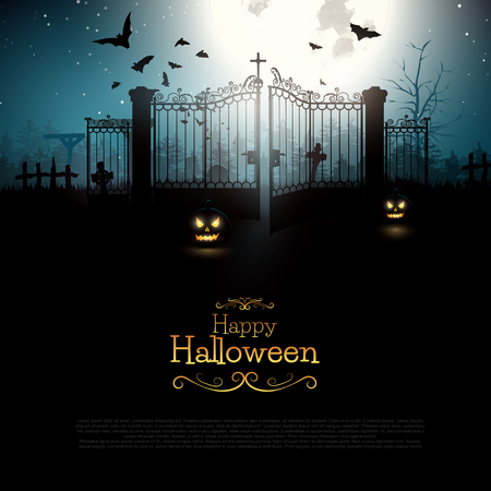 horror: Halloween background with spooky old graveyard