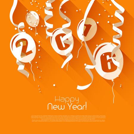 Glückliches neues Jahr 2016 - moderne Grußkarte im flachen Design-Stil Standard-Bild - 47214566