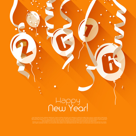 greetings from: Happy New Year 2016 - modern greeting card in flat design style Illustration