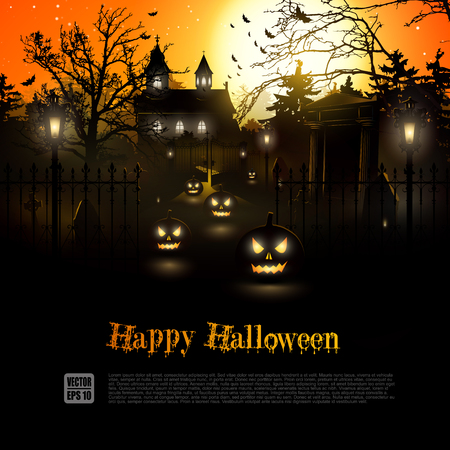 farmhouse: Scary graveyard and farmhouse in the woods - Halloween background Illustration