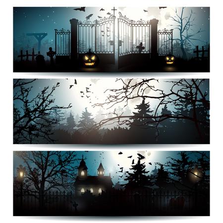 ni�os con pancarta: Vector conjunto de tres banderas horizontales de Halloween Vectores