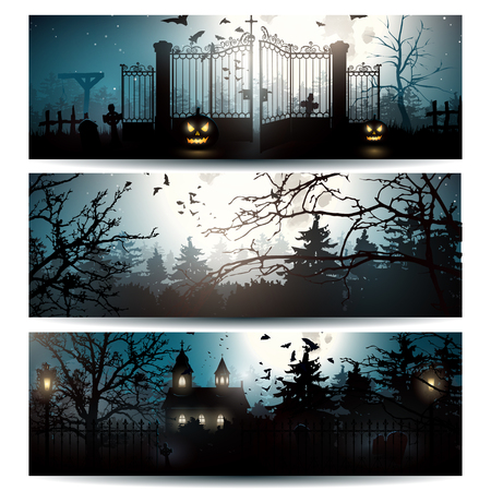 cemeteries: Vector set of three Halloween horizontal banners Illustration
