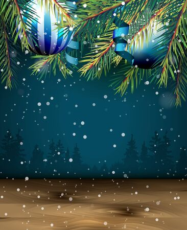 xmas card: Christmas background with branches, baubles and empty space for your text, photo, etc.
