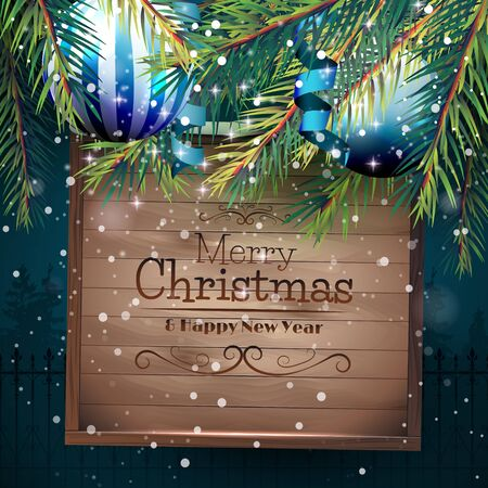 christmas blue: Christmas greeting card with branches, baubles and wooden sign on blue background Illustration