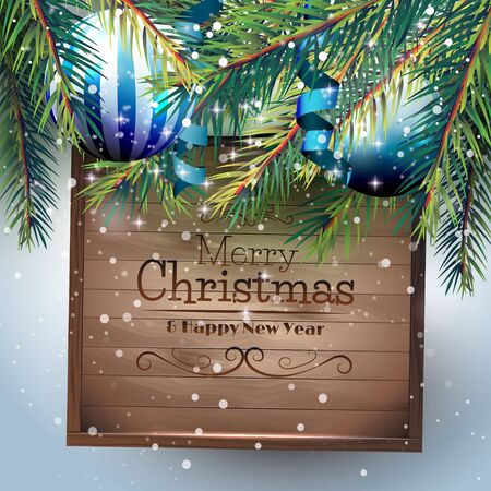 Christmas greeting card with branches, baubles and wooden sign Illustration