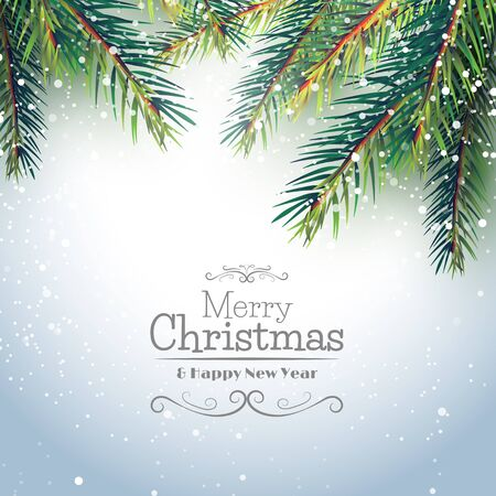 christmas greeting card: Christmas greeting card with branches and place for your text