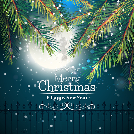 christmas greeting card: Christmas greeting card with branches in front of night sky Illustration
