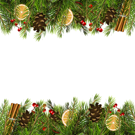 berry: Christmas background with branches and traditional decorations on white background