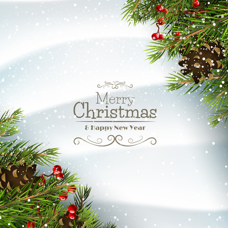 Christmas greeting card with branches,pinecones and berries on the snow
