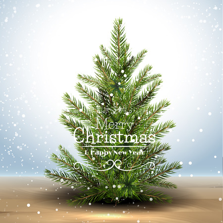 Modern Christmas greeting card with Christmas tree in the snow