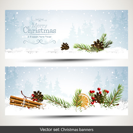 christmas banner: Vector set of two Christmas banners with branches and traditional decorations in winter landscape