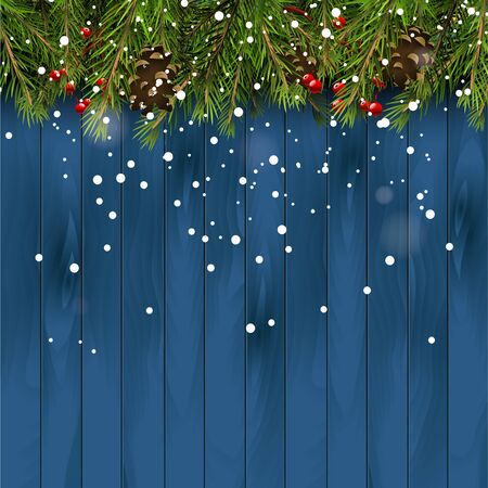 Christmas background with branches,pinecones and berries on wooden background Illustration