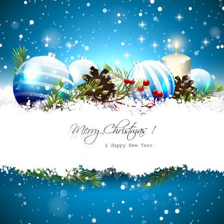 bright card: Christmas greeting card with blue baubles, branches,pinecones and berries on blue background