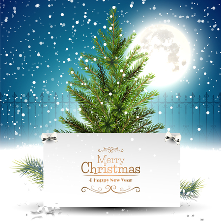 Christmas greeting card with Christmas tree in front of a night landscape Çizim