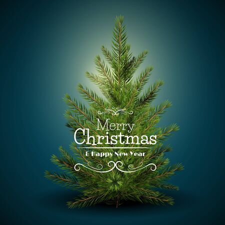 Modern Christmas greeting card with Christmas tree on blue background
