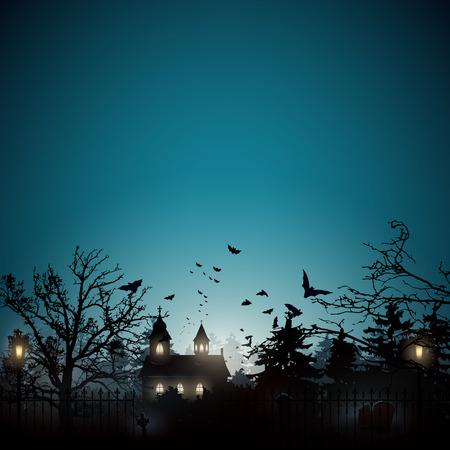 Halloween achtergrond met oude kerkhof en de kerk Stock Illustratie