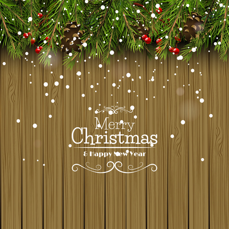 pinecones: Christmas background with branches,pinecones and berries on wooden background Illustration