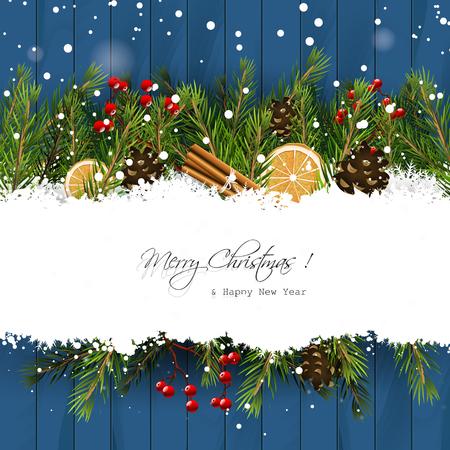 Weihnachts-Grußkarte mit Zweigen und traditionellen Dekorationen im Schnee