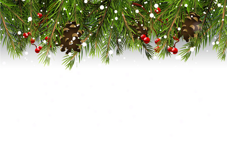 Christmas border with branches,pinecones and berries on white background Vectores