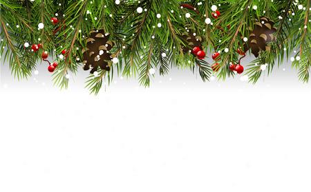 Christmas border ágak, tobozok és a bogyós gyümölcsök, fehér háttér