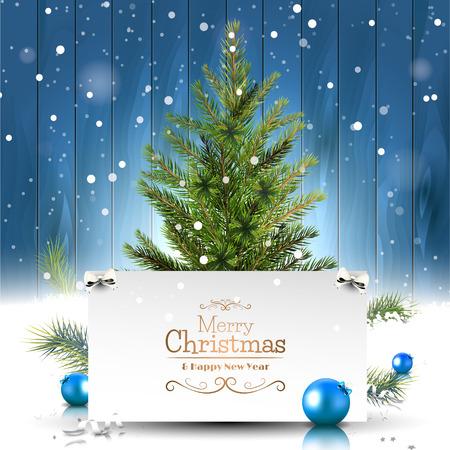 natale: Auguri di Natale con l'albero di Natale su fondo in legno