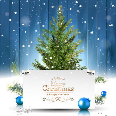religion: Christmas greeting card with Christmas tree on wooden background Illustration