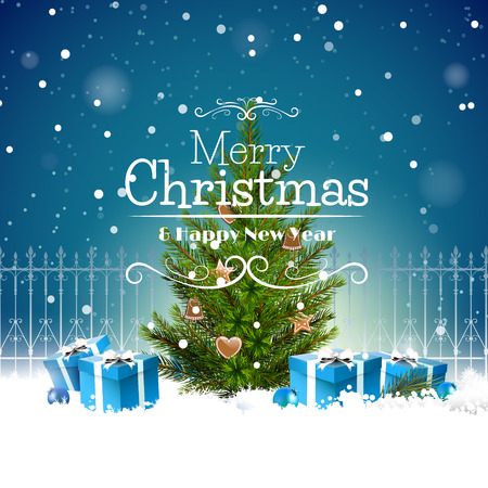 Christmas greeting card with Christmas tree and gift boxes in the snow