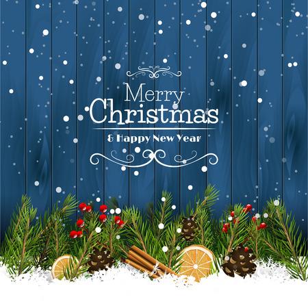 De groetkaart van Kerstmis met takken en traditionele decoratie in de sneeuw
