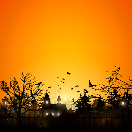 Halloween background with old graveyard and church Stock Illustratie