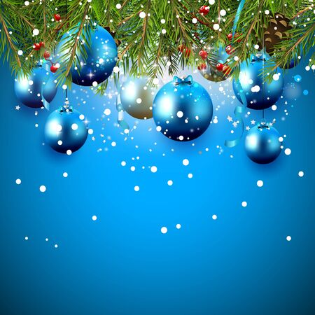 Christmas greeting card with branches and baubles on blue background