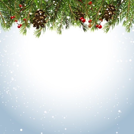 snow: Christmas background with branches,pinecones and berries