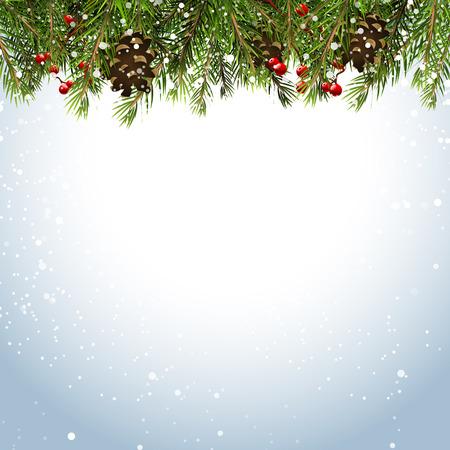 neige noel: Fond de No�l avec des branches, des pommes de pin et baies Illustration