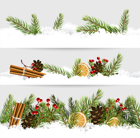 Vector set of three Christmas borders with traditional decorations in the snow