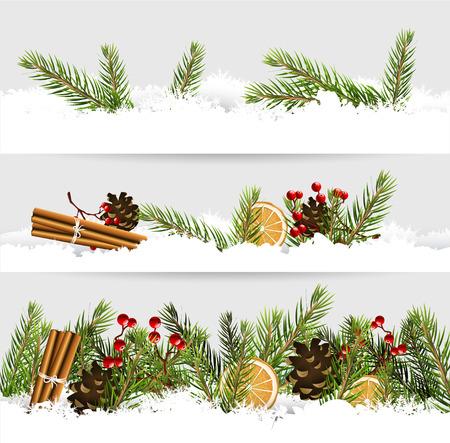 Vectorreeks van drie Kerstmisgrenzen met traditionele decoratie in de sneeuw