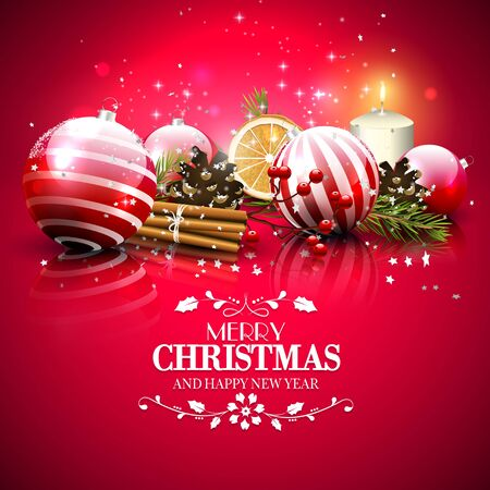 decoration: Christmas red greeting card with traditional decorations and calligraphic lettering