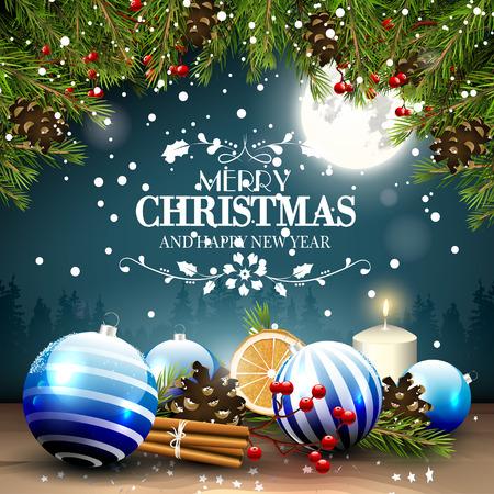 Kerst wenskaart met traditionele decoraties en kalligrafische letters Stockfoto - 48737923