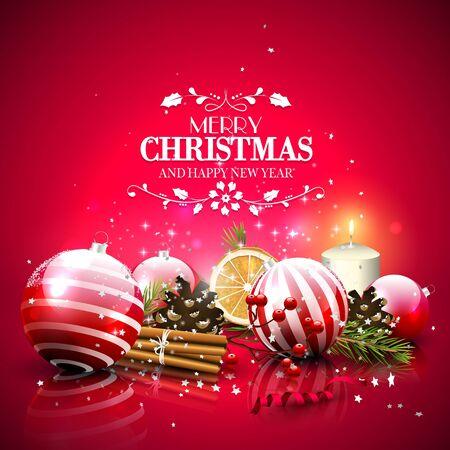 velas de navidad: Tarjeta de felicitación roja con decoraciones tradicionales y las letras caligráficas