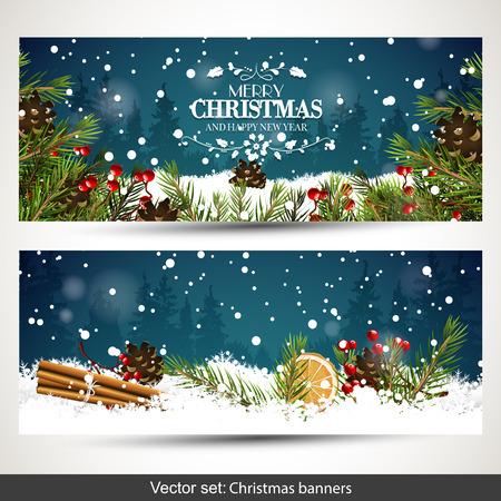 Insieme vettoriale di due striscioni di Natale