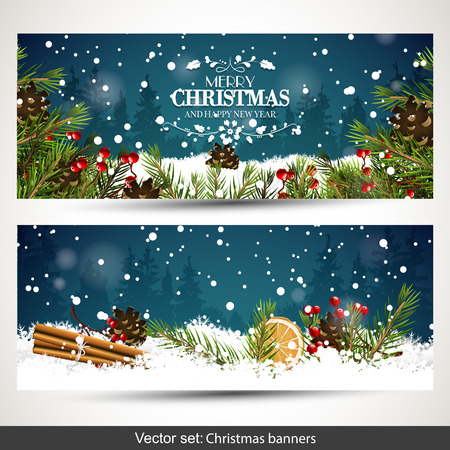Vector set of two Christmas banners