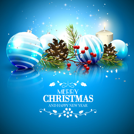 christmas greeting: Christmas greeting card with traditional decorations and calligraphic lettering