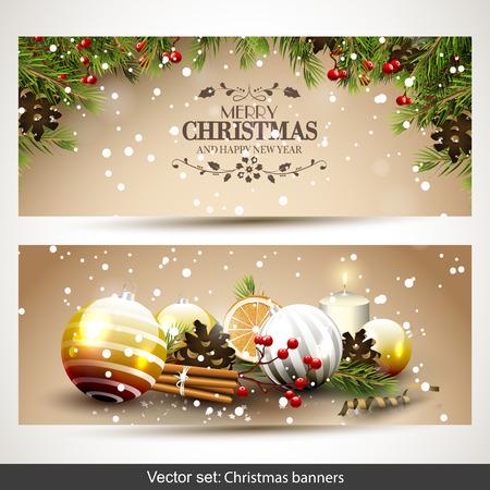 the christmas: Insieme vettoriale di due striscioni di Natale